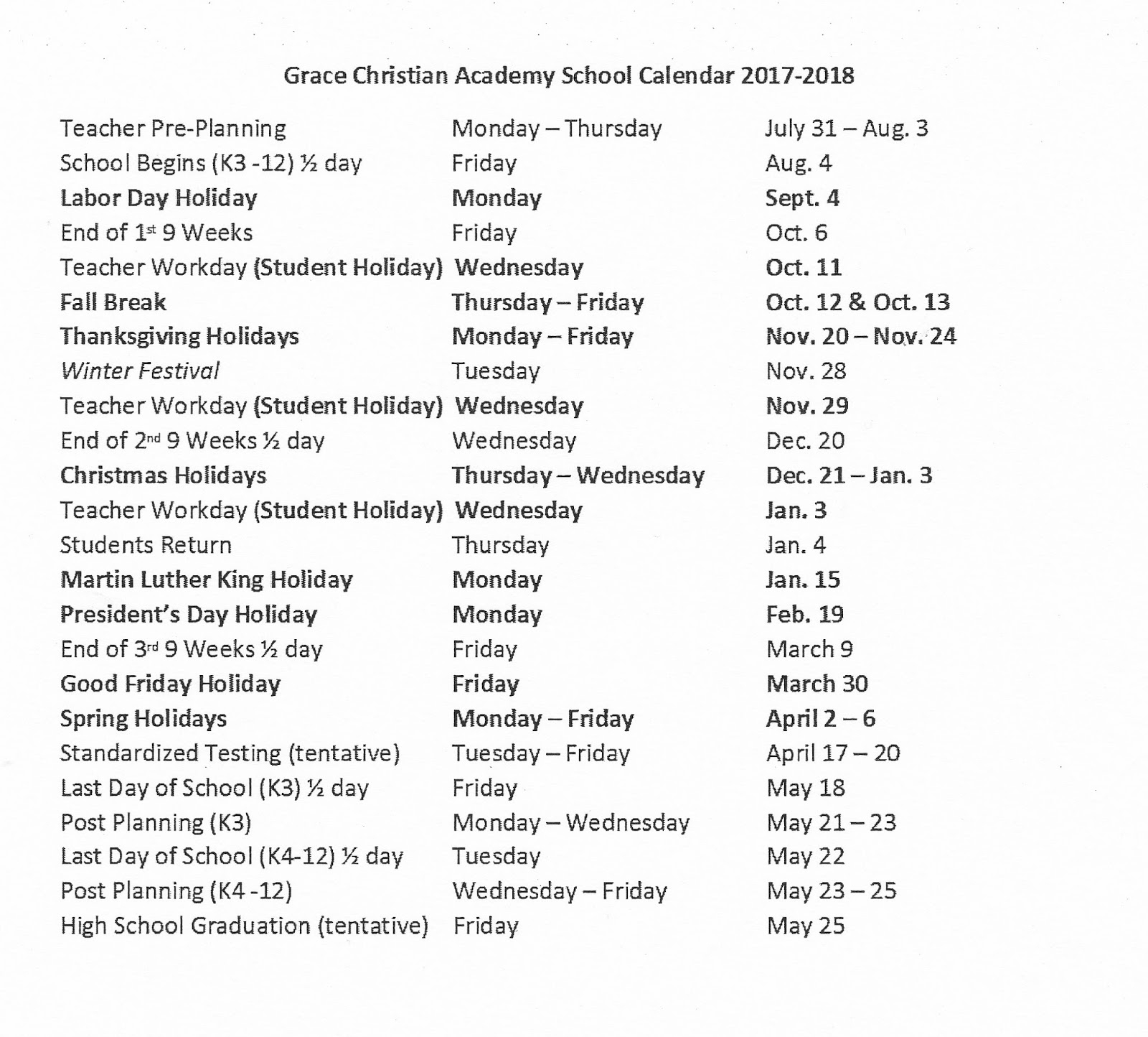 Grace Christian Academy: 2017 2018 School Calendar Intended For Georgia State University Holiday Schedule
