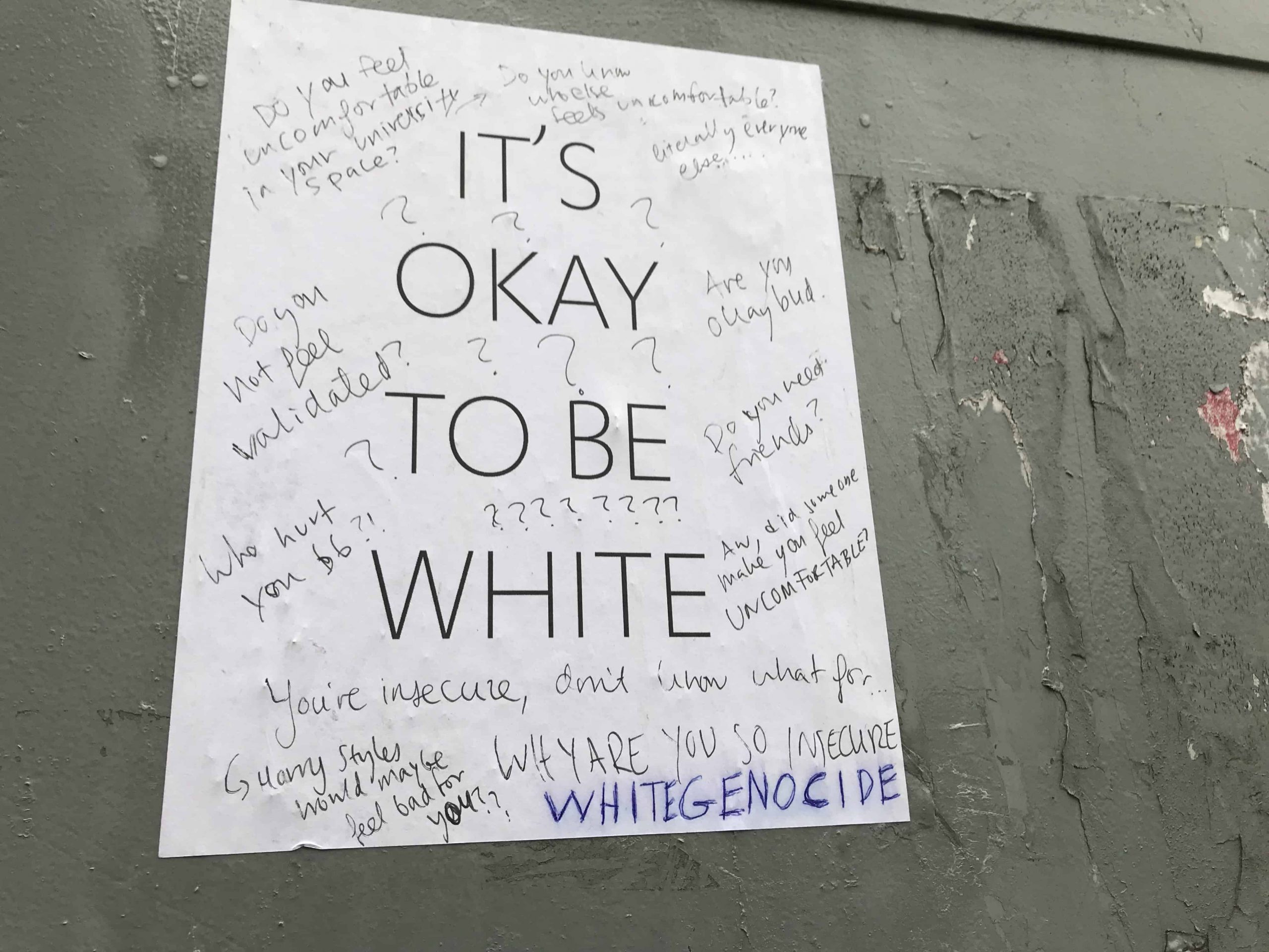 """Group Spotted Putting Up """"It's Okay To Be White"""" Posters Within University Of Toronto Calendar"""
