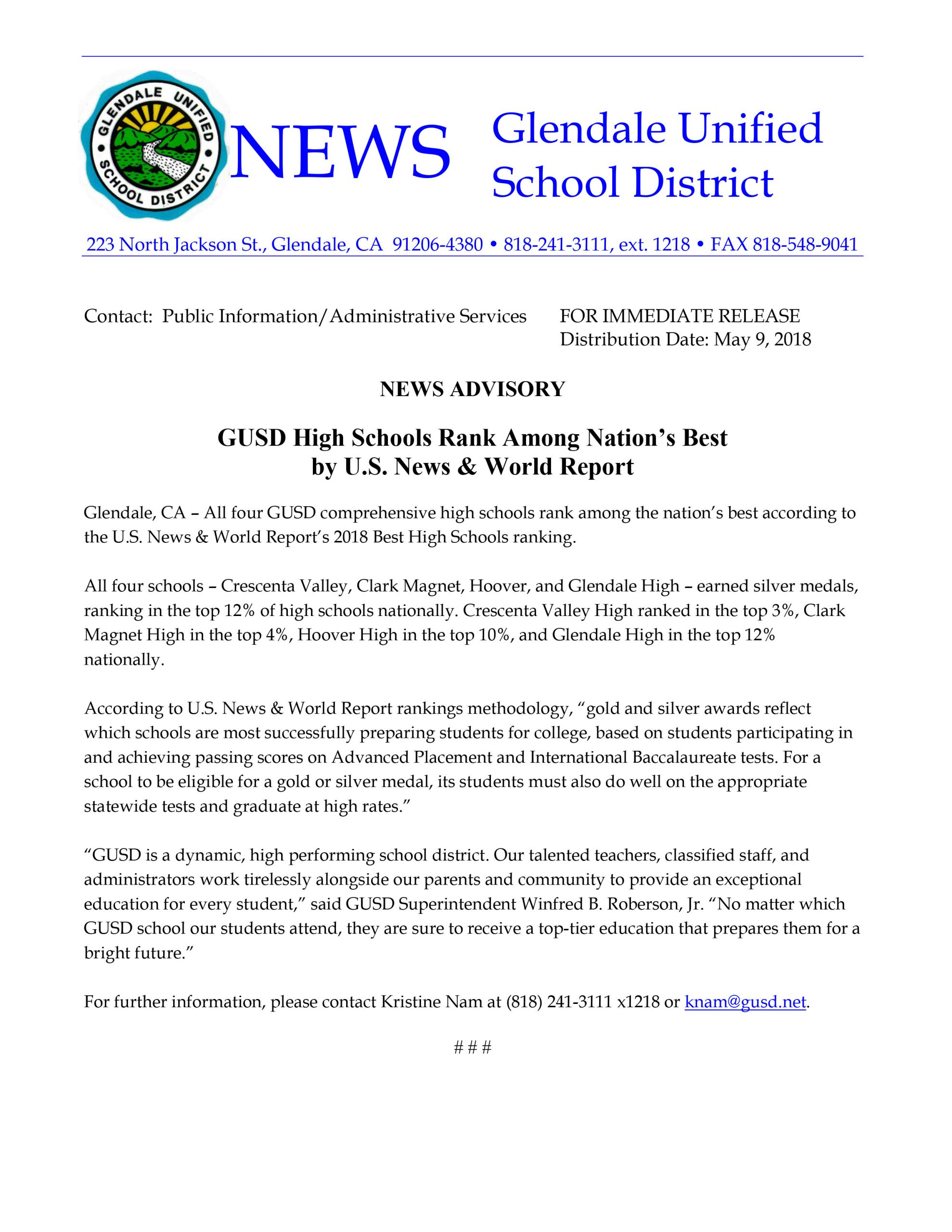 Gusd High Schools Rank Among Nations Best By Us News World Throughout Glendale Unified School District Calendar