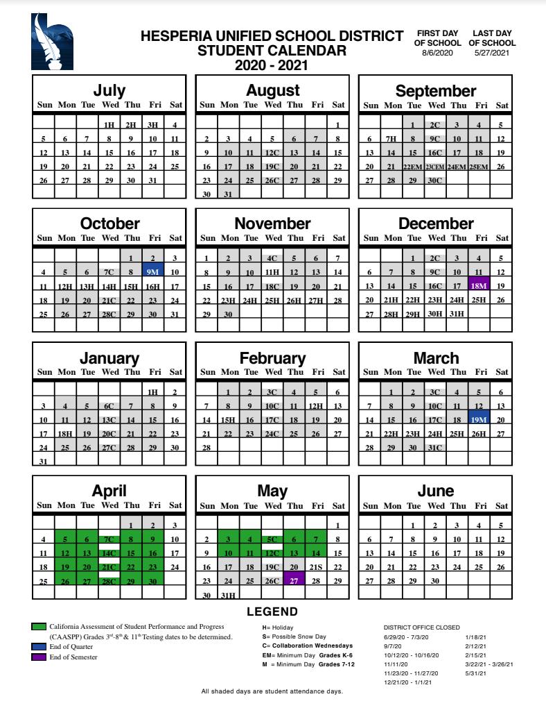 Hesperia Unified School District Throughout Hesperia Usd Calendar 2021