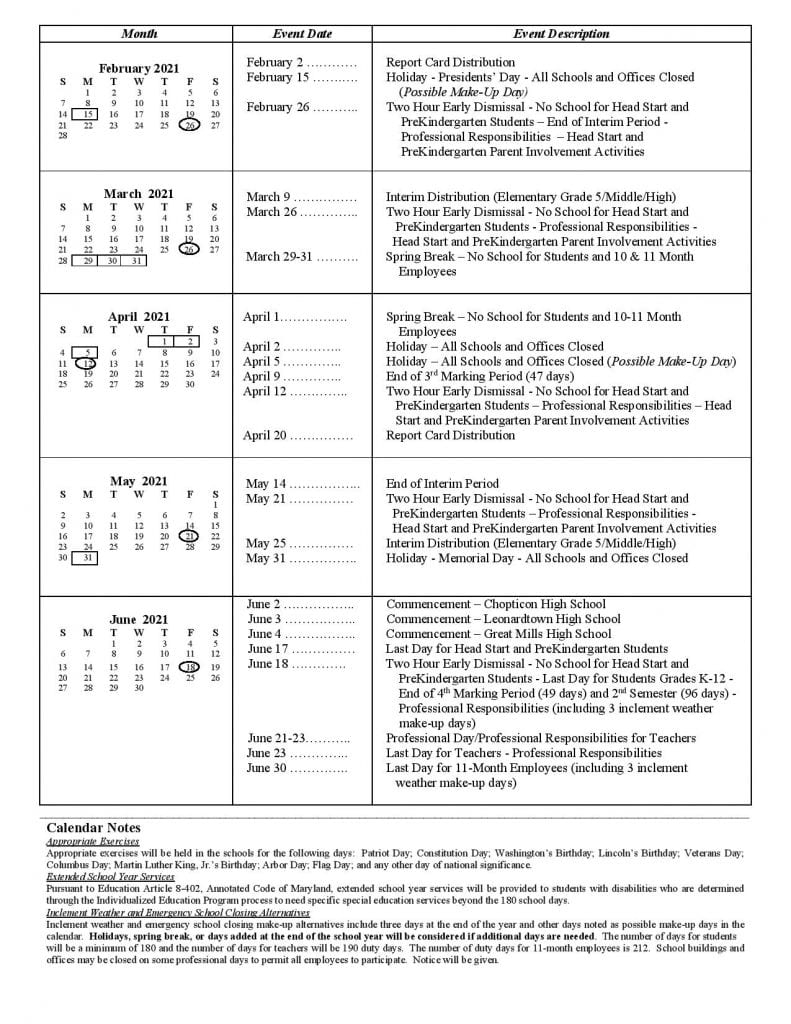 High Road Schools Of St. Mary's County – Sesi With Regard To William And Mary School Calendar 2021 2020