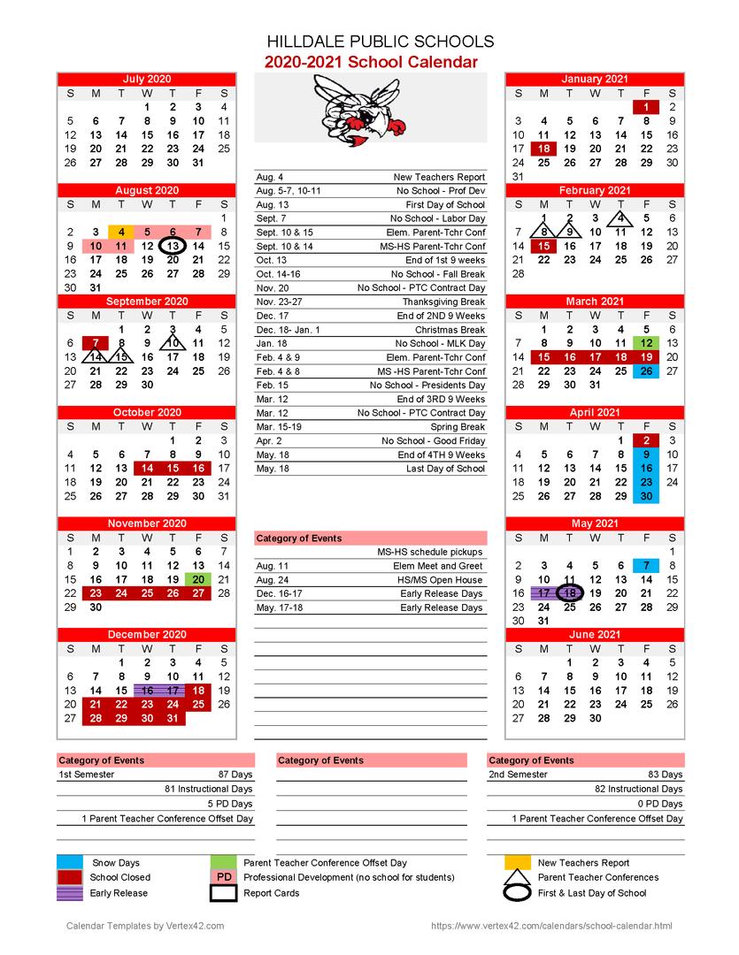 Hilldale Public Schools - 2020 2021 School Calendar Pertaining To Jersey City Public School Calendar 2021 2020