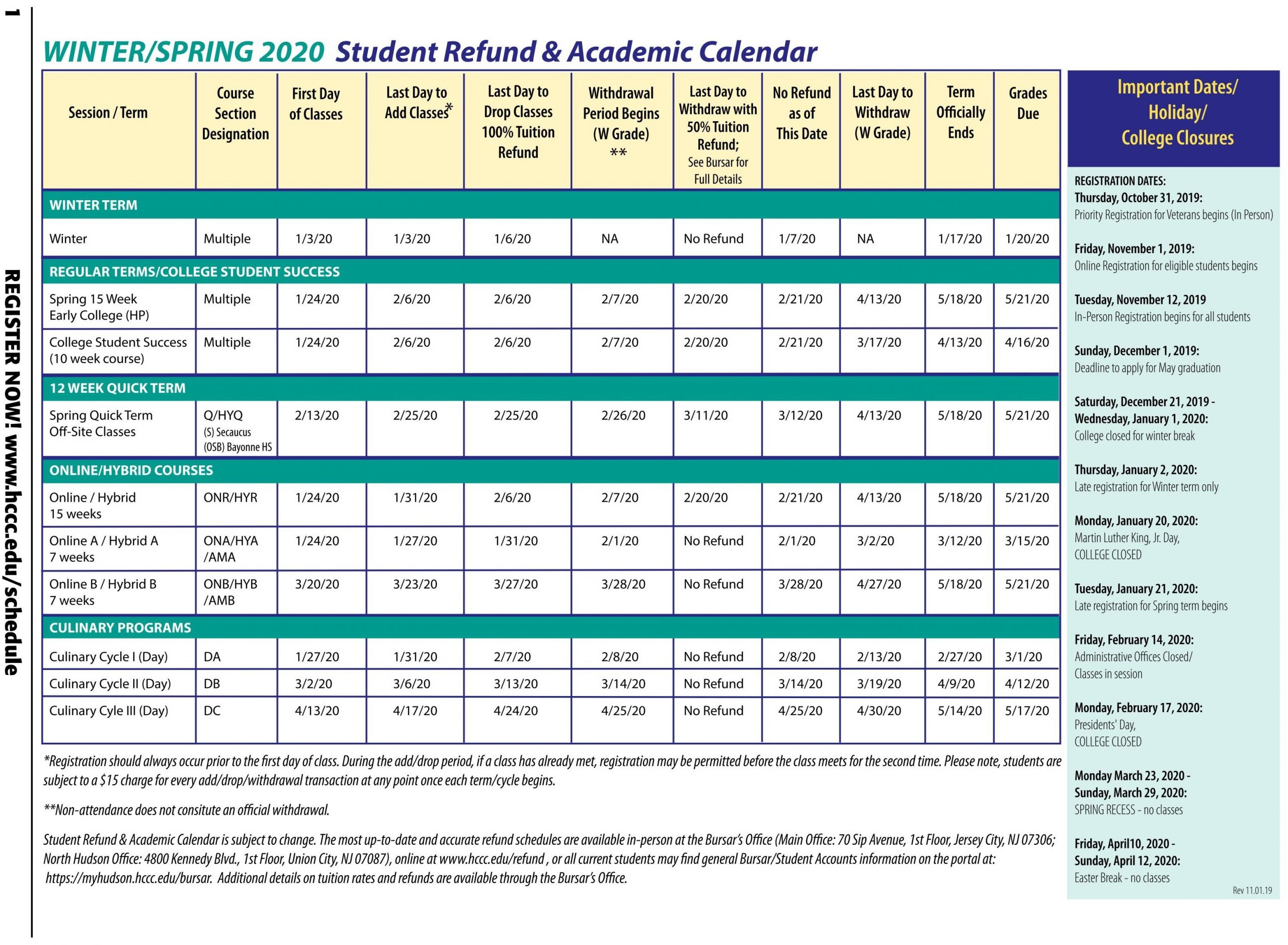 Hudson County Community College with regard to Spring Calendar 2020 Collin County Community College