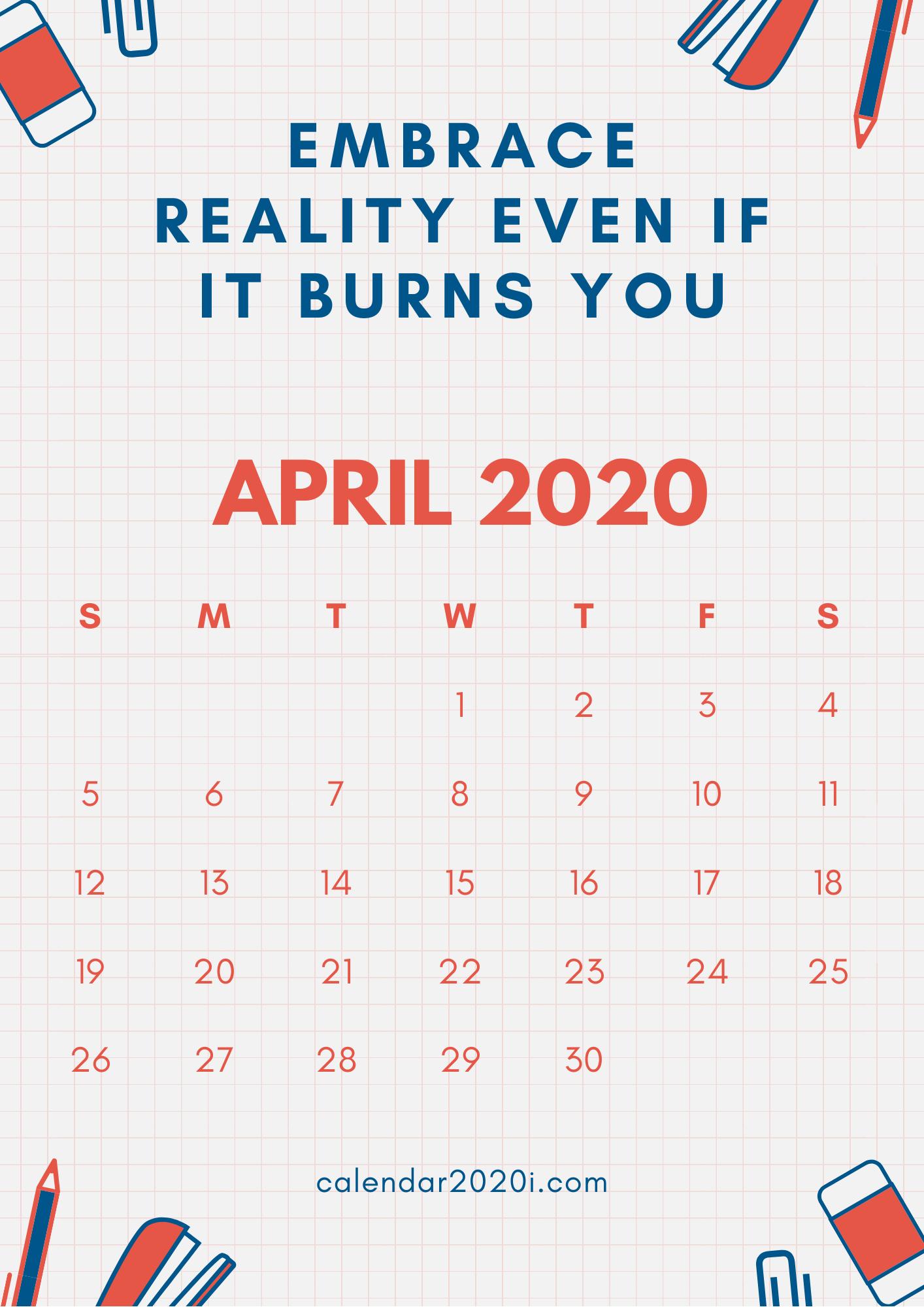 Inspiring April 2020 Calendar With Quotes | Calendar 2020 in April Calendar Quotes And Sayings
