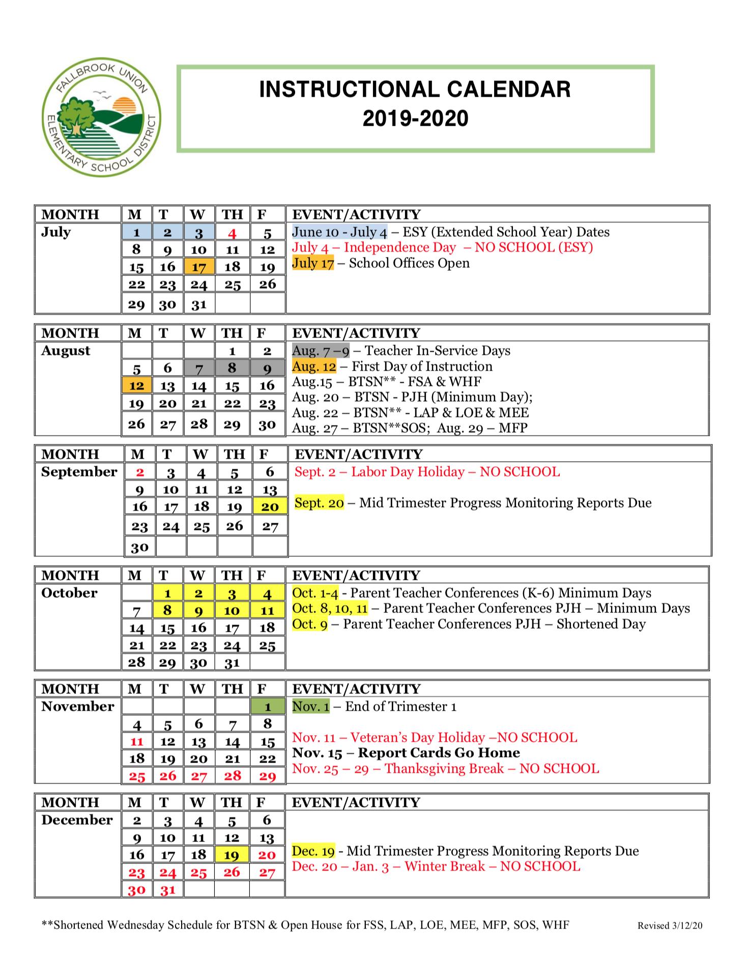 Instructional Calendar   Fallbrook Union Elementary School Inside William And Mary School Calendar 2021 2020