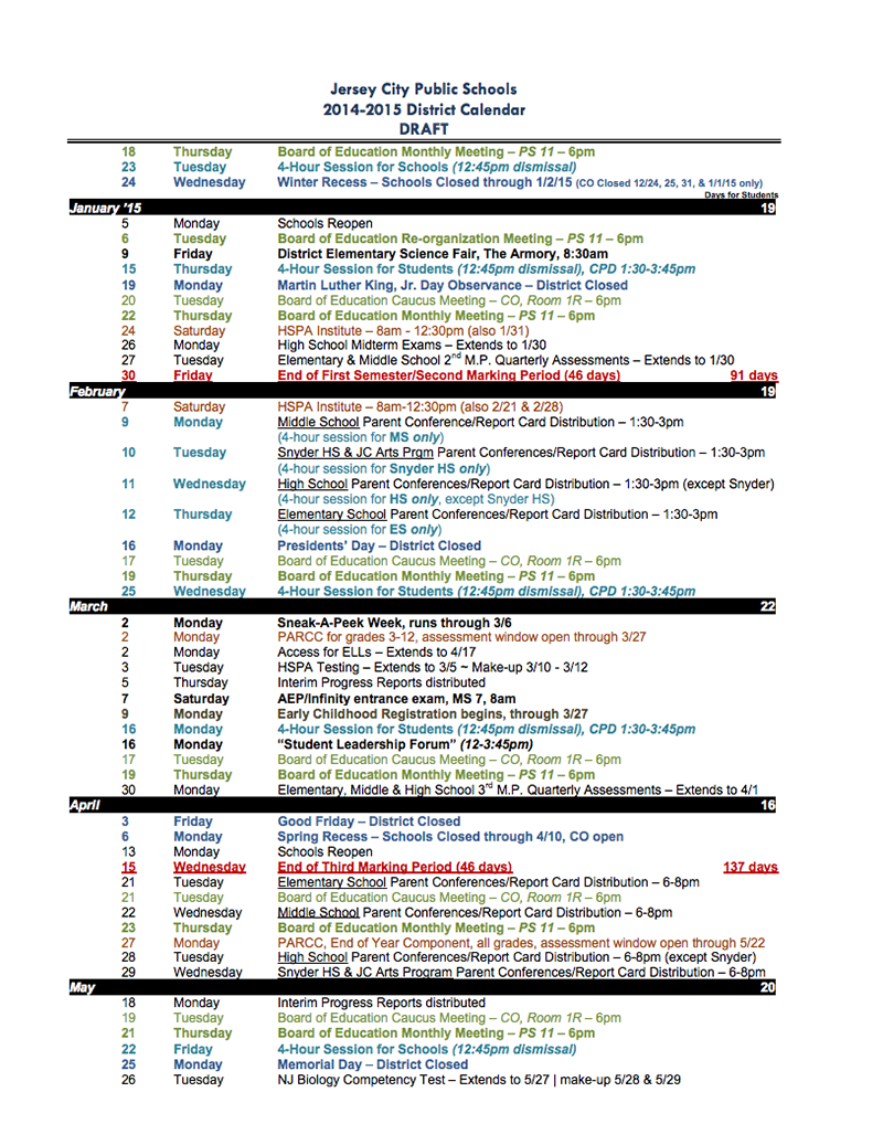 Jersey City Board Of Education Member Calendar   Printable With Regard To Wake County Track 4 Schedule