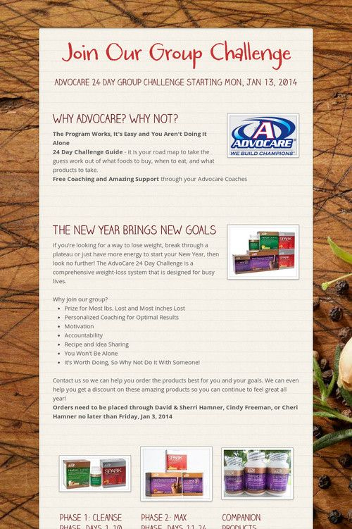 Join Our Group Challenge Advocare 24 Day Challenge Www In Printable Guide Advocare 24 Day Challenge