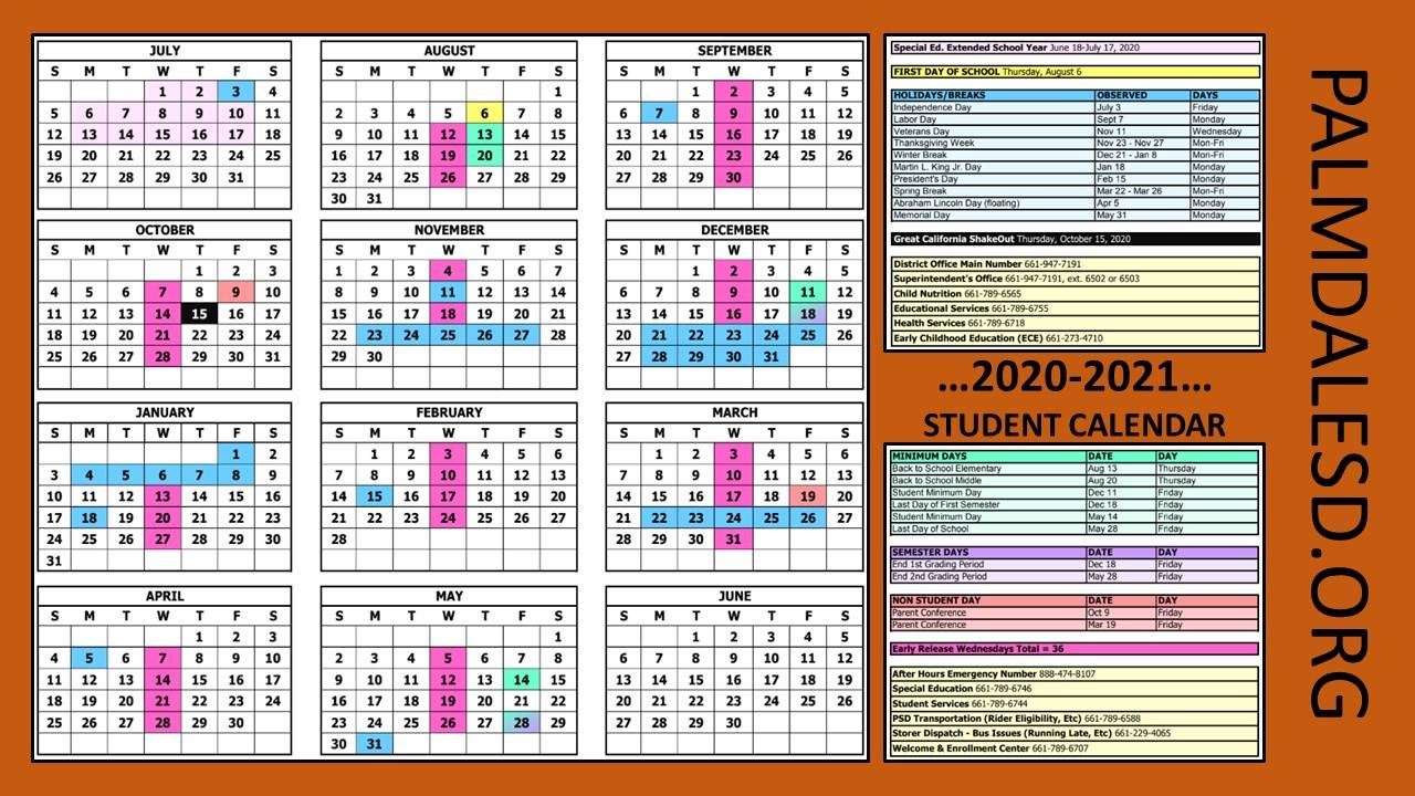 La School Calendars 2020-2021 | Momsla inside Paramount Unified School District Academic Calendar 2020