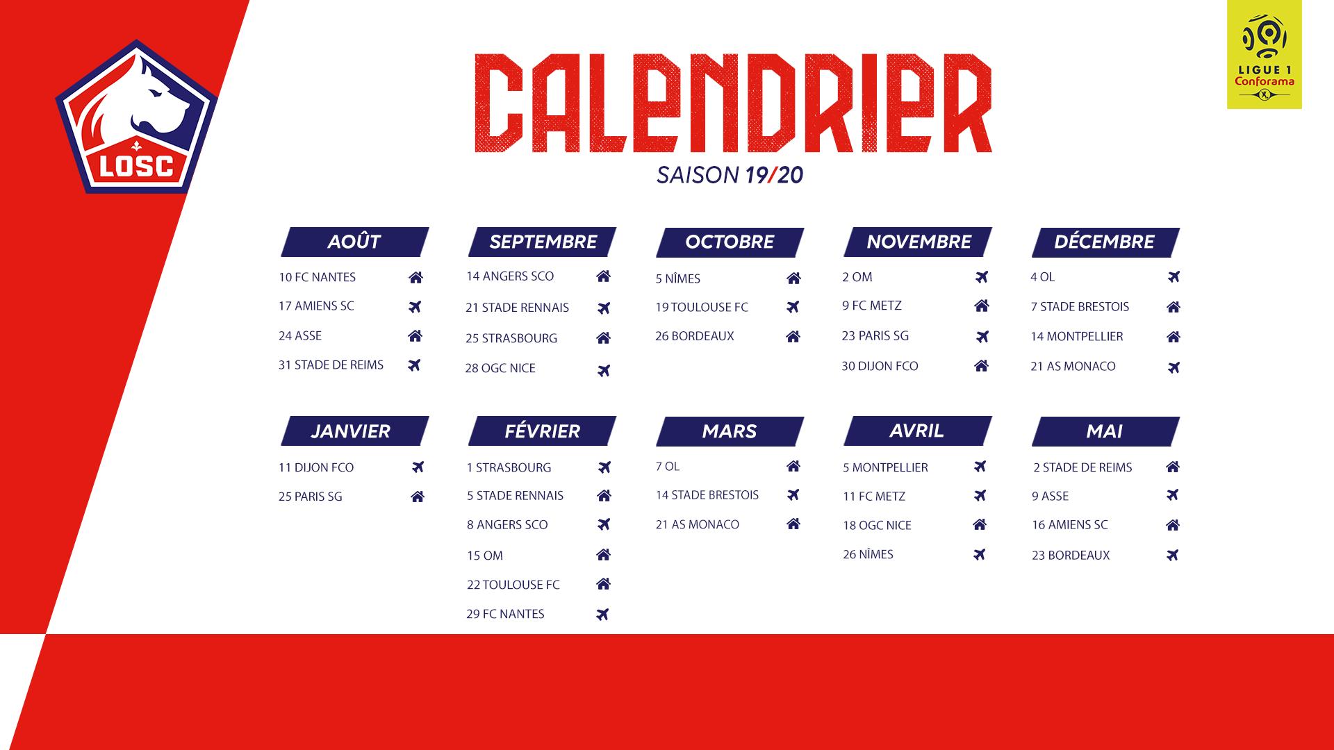 Le Calendrier 2019 20 Dévoilé !   Lille Losc Regarding Rcf Dates La Superior Court 2020