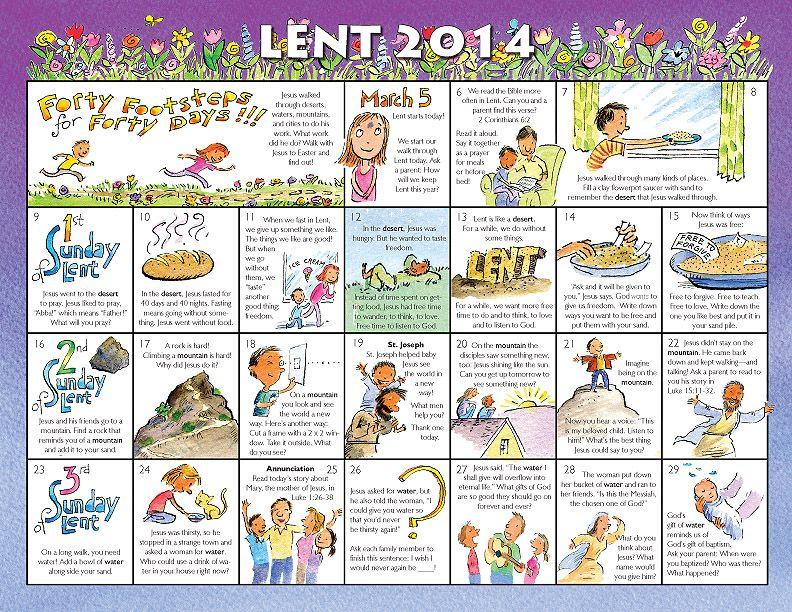 Lent Calendar For Kids 2014   2014 Lent Calendar For For Roman Catholic Calendar With Saints Days To Print Out