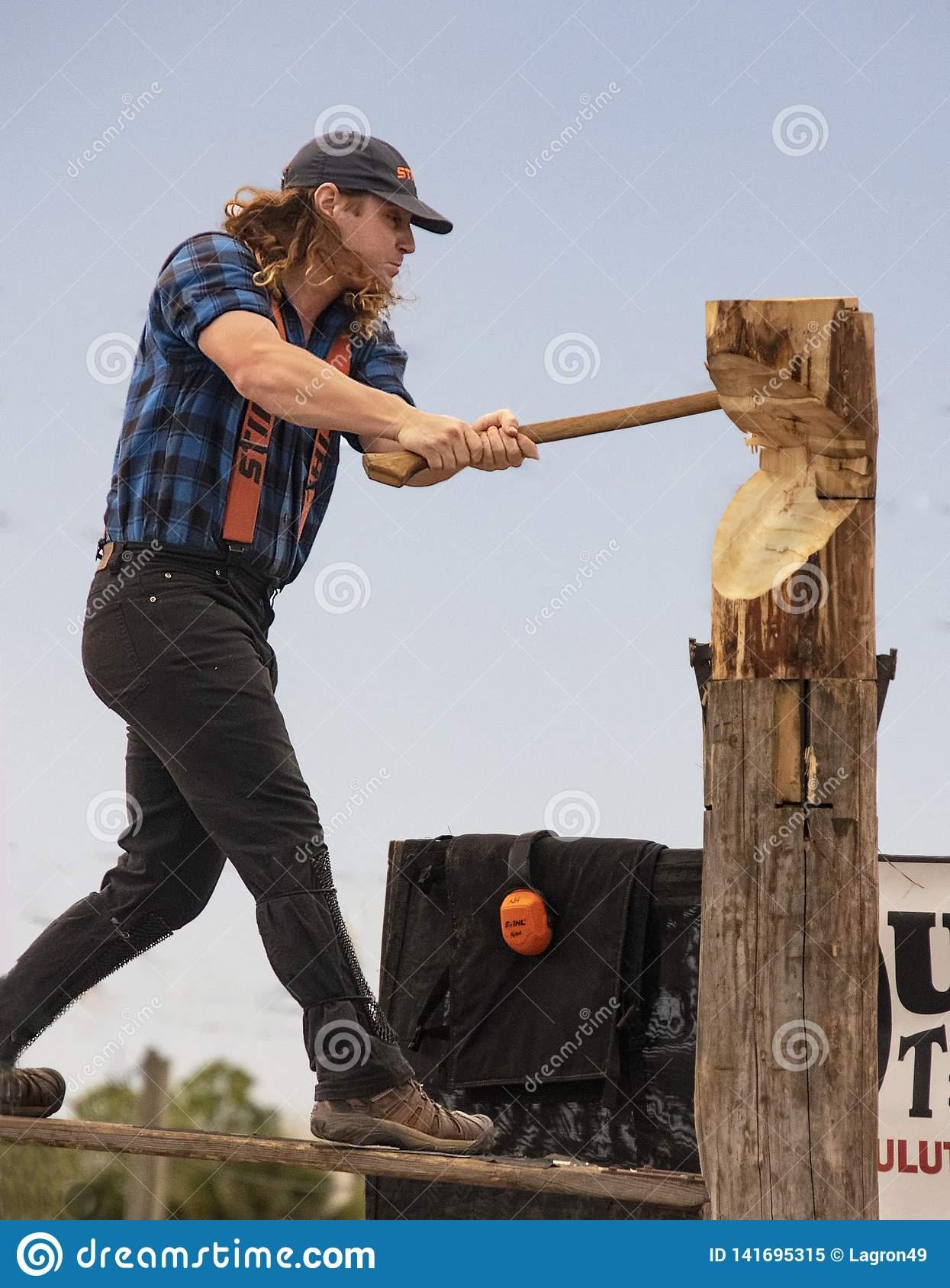 Lumberjack Entertains At 2019 Florida State Fair Editorial Inside Florida State Fairgrounds Event Calendar