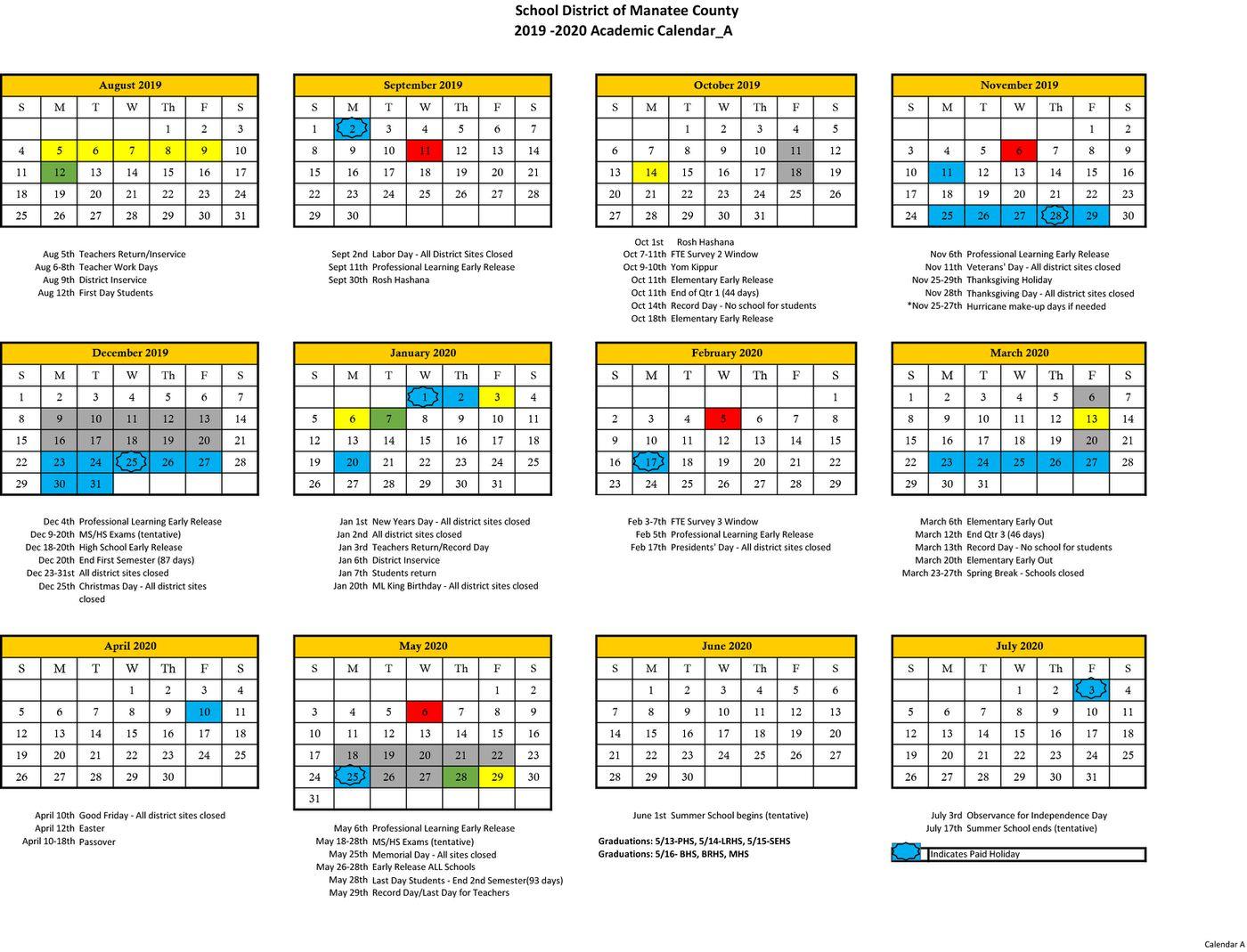 Manatee County School Calendar 2020 | Free Printable Calendar With Wake County School District Calenders