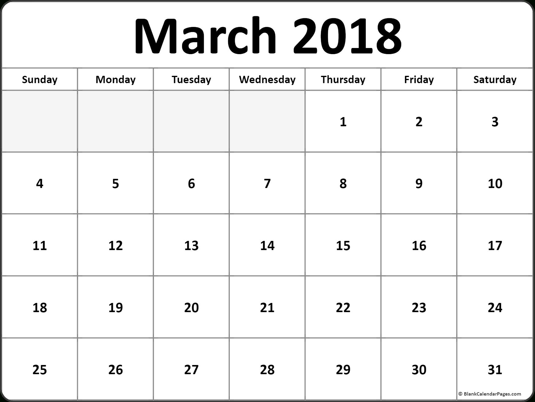March 2018 Monthly Calendar Printout #March #Printable # Inside 52 Week Printable Calendar Blank