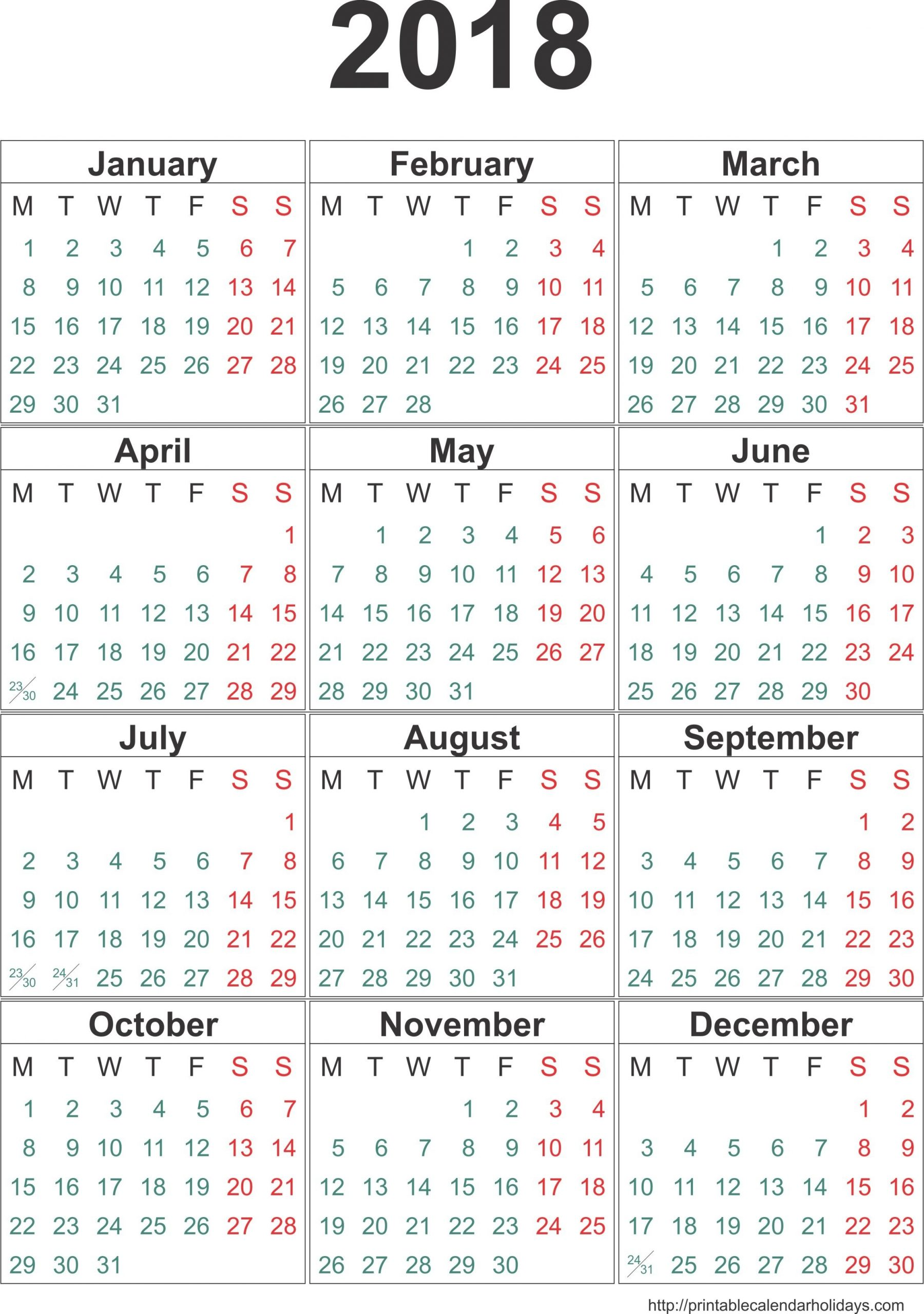 May 2018 – Template Calendar Design In Printable Twelve Month One Page Calendar