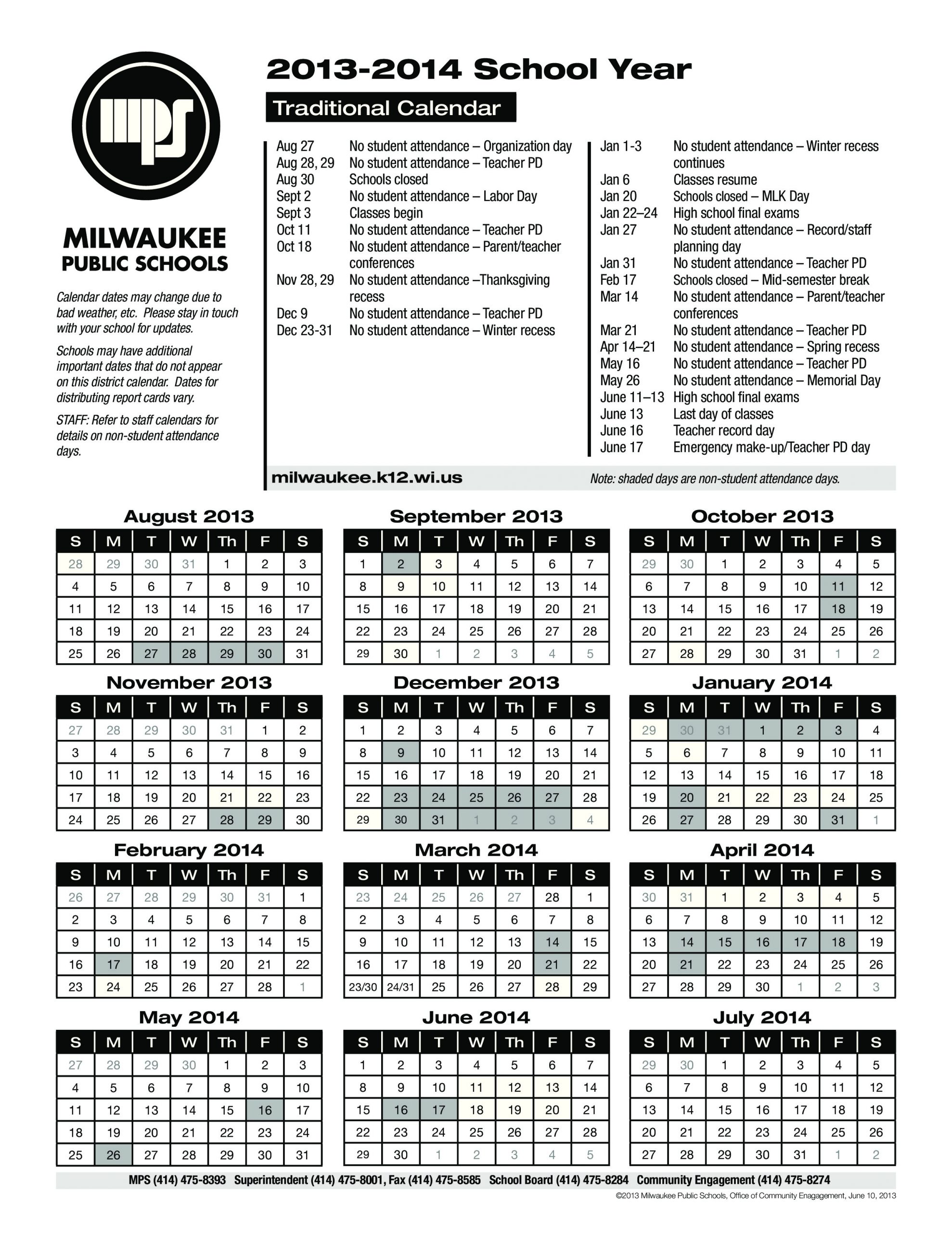Milwaukee Public Schools Calendar   Qualads With What Is A Sample Year Round School Schedule