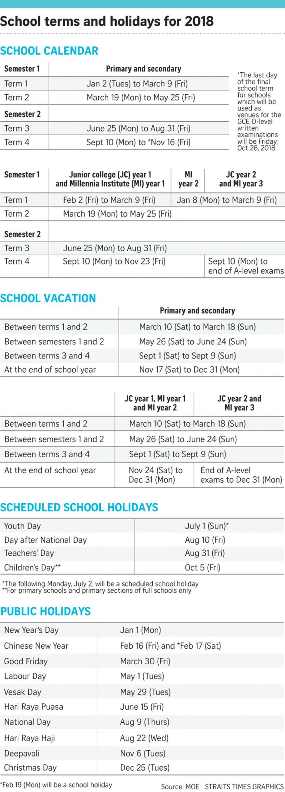 Moe Releases 2018 School Calendar, Education News & Top Intended For University Milwaukee Academic Calender