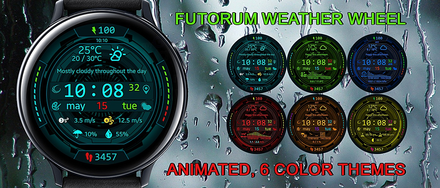 Mygalaxywatch – Watchface Overview: Futorum Weather Wheel Intended For Chart Of Sunrise And Sunset Times By Zip Code