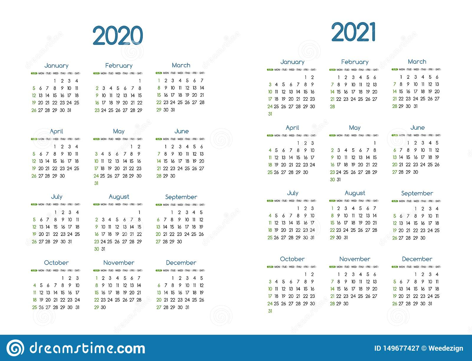 New Year 2020 And 2021 Vector Calendar Modern Simple Throughout San Diego Belly Up 2021 Calander
