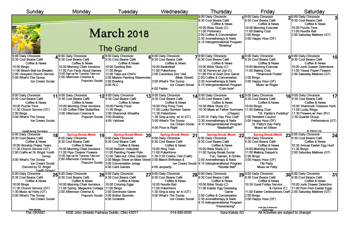 News And Events – The Grand In Activity Calendar Assisted Living