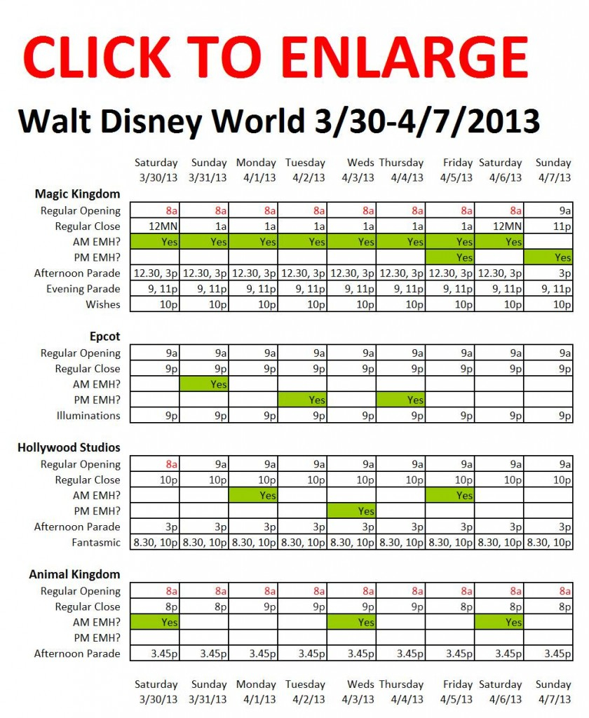 Next Week (3/30 To 4/7/2013) At Walt Disney World Within Calendar Of Extra Magic Hours May 2020 In Wdw