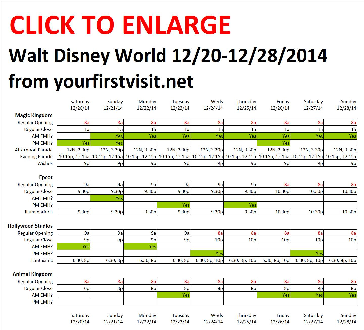 Next Week (December 20 Through December 28, 2014) At Walt With Calendar Of Extra Magic Hours May 2020 In Wdw