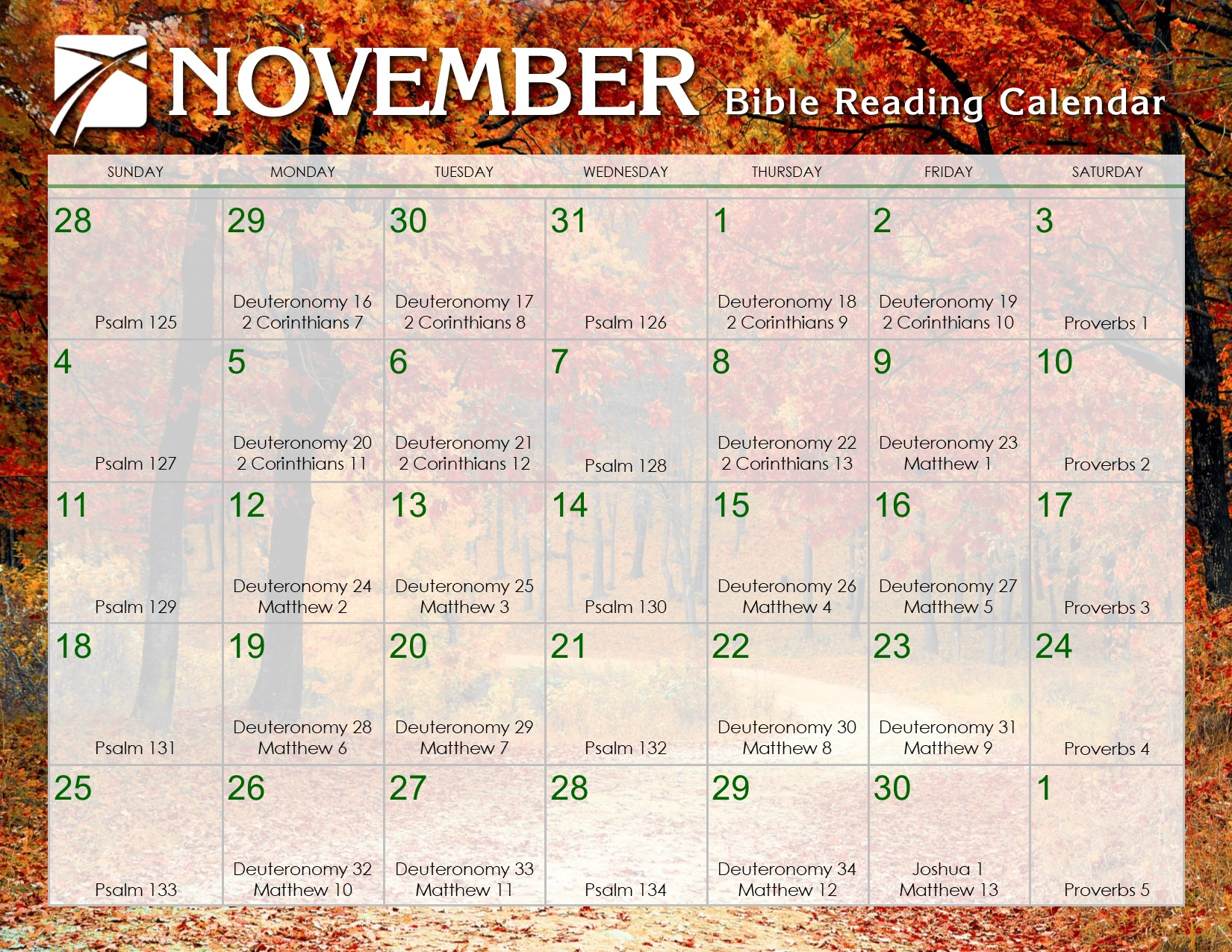November 2018 Daily Bible Reading Calendar – In God'S Image In Read The Bible In A Year Calendar