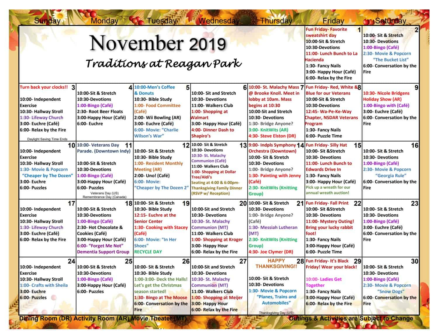 November Assisted Living Activities | Traditions At Reagan Pertaining To Actievies Calendar For Assisted Living Teplete