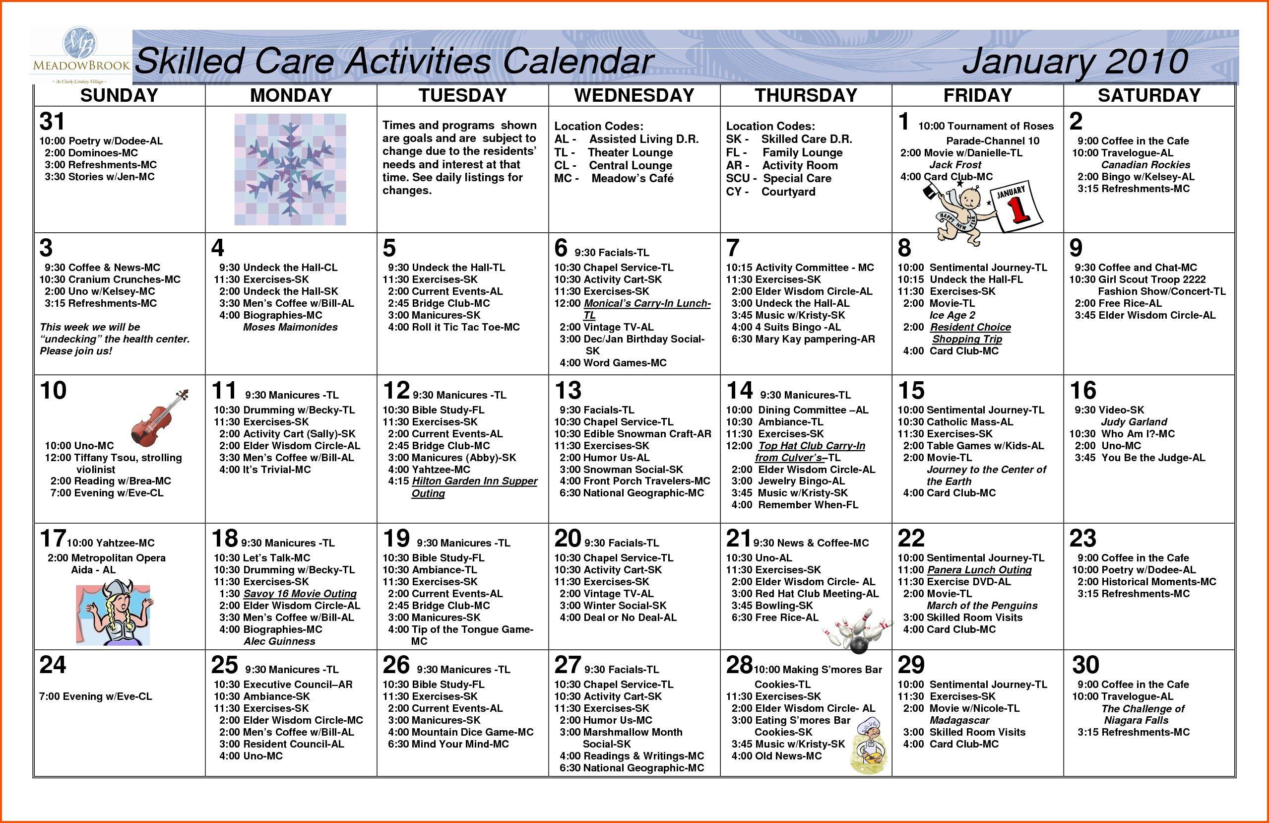 Nursing Home Activity Calendar Template | Nursing Home Regarding Assisted Living Activities Calendar Ideas