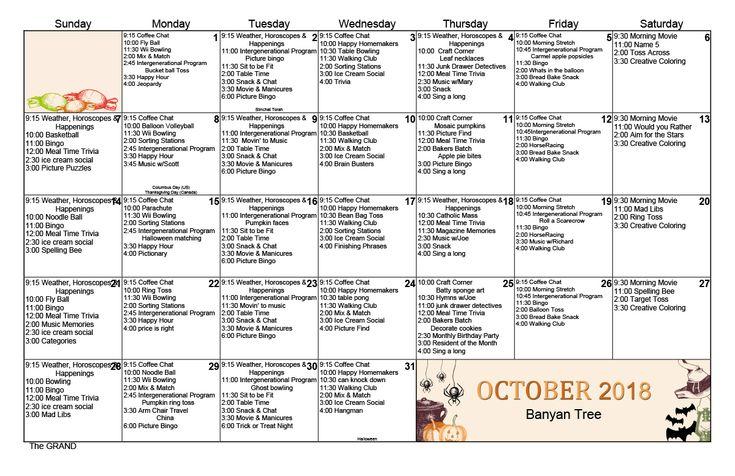 October 2018 Memory Care Activity Calendar | Senior Living Throughout Assisted Living Calendar Template