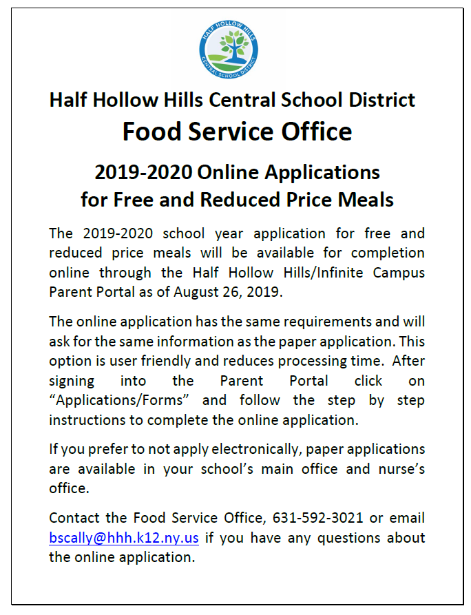 Online Application For Free And Reduced Meals – Half For Half Hollow Hills Calendar