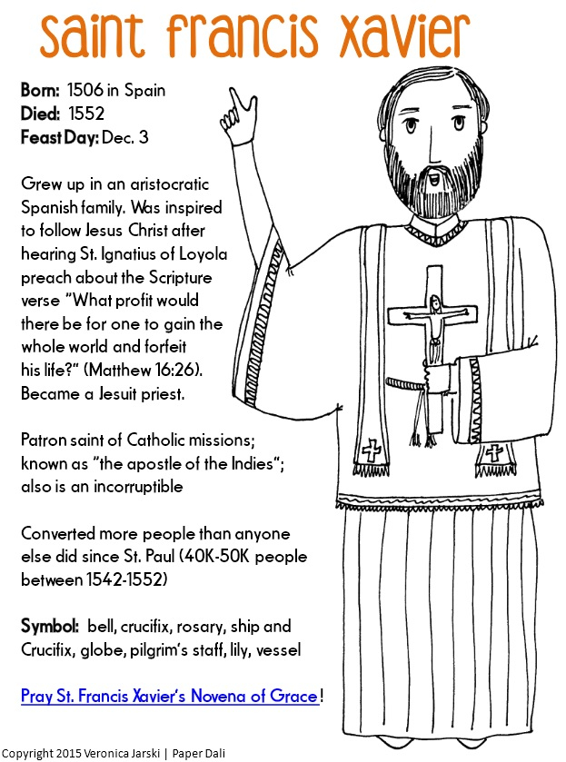 Paper Dali: Free Saint Francis Xavier Coloring Page with regard to Roman Catholic Calendar With Saints Days To Print Out