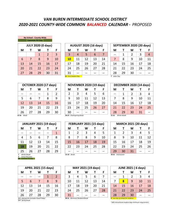 Proposed Balanced Calendar – South Haven Public Schools For Academic Calendar Chamberlain 2021