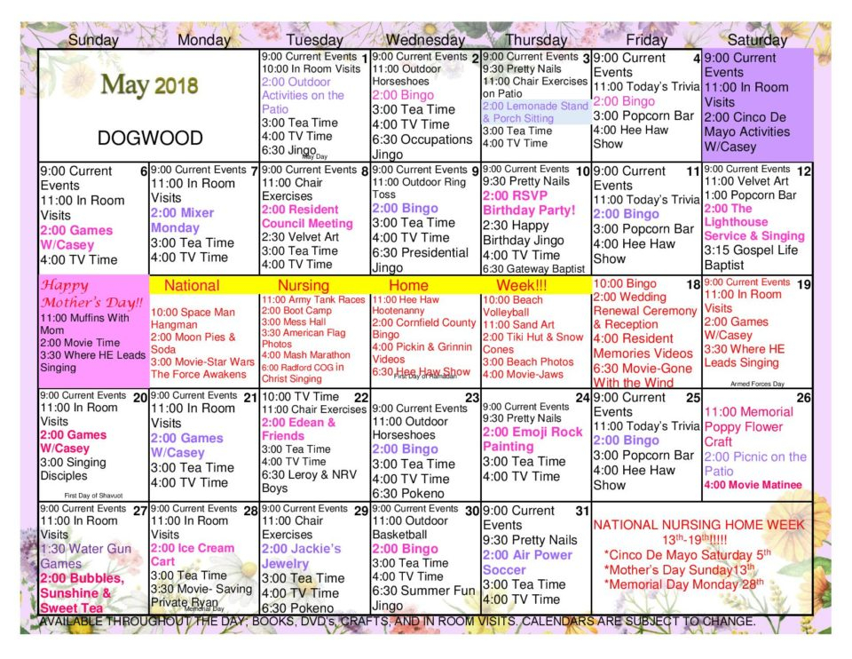 Radford Health & Rehab Center Activities Calendar - May Regarding Uwyo Long Tern Calendar