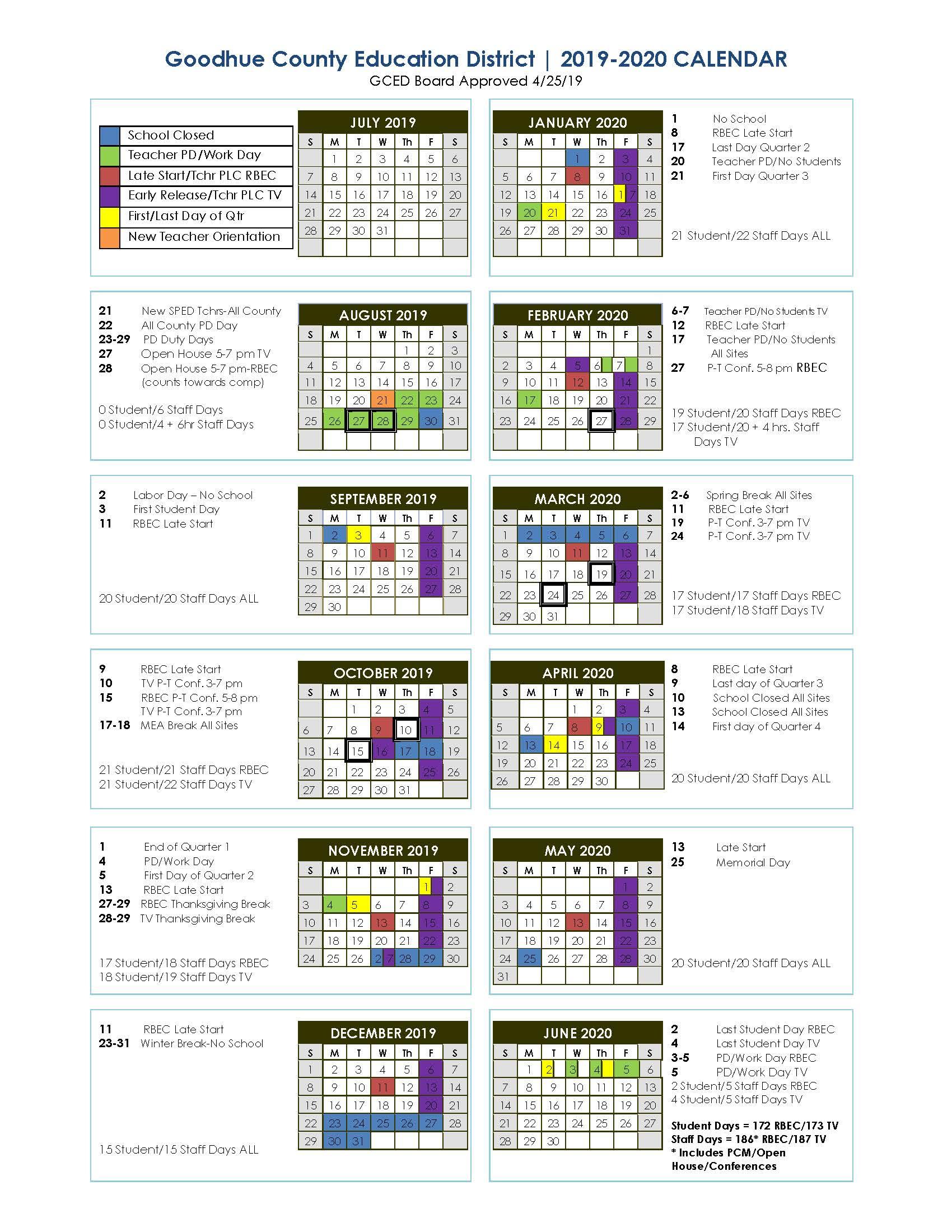 Red Bluff High School Calendar 2021  2020   Printable With Uri School Calendar 2021 2020