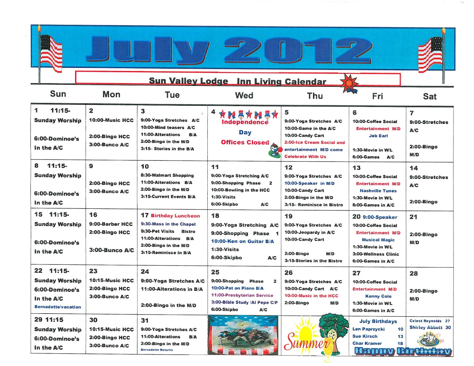 Retirement & Life Care Journal: July 2012 Assisted Living Pertaining To Assisted Living Activities Calendar Ideas