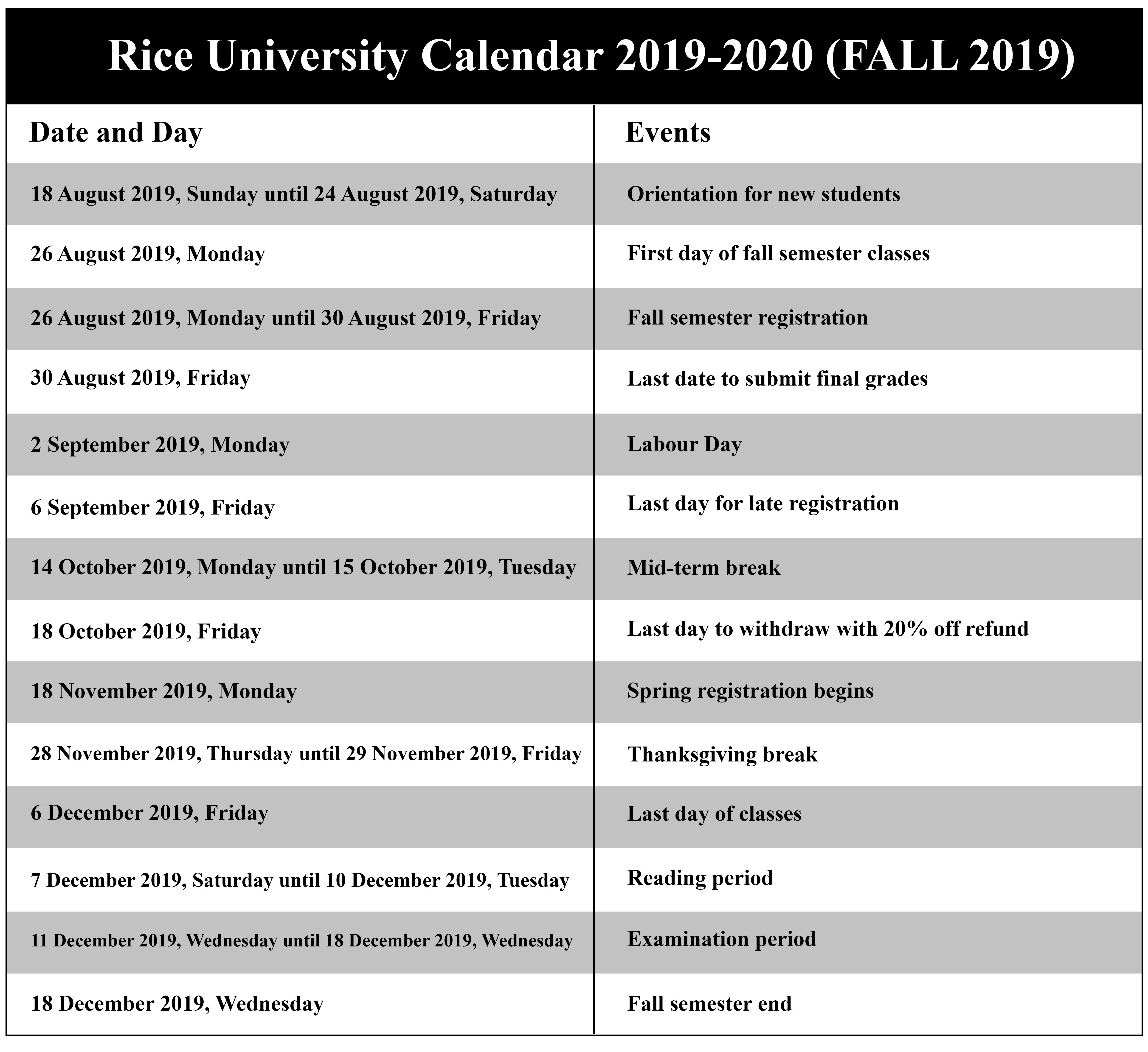 Rice University Calendar Fall 2021   Printable March For University Of Ri Academic Calendar 2021 2020