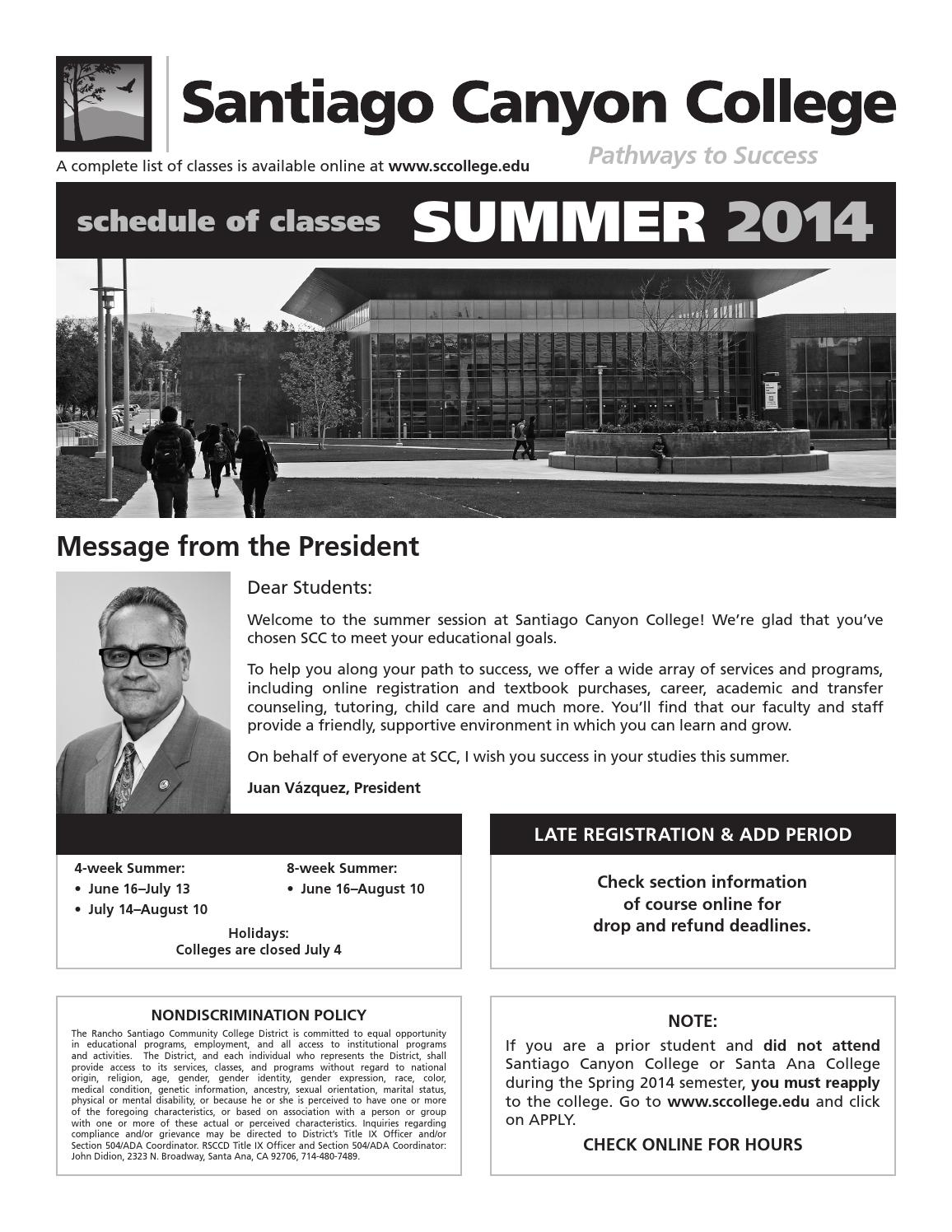 Santiago Canyon College Summer Schedule Of Classes 2014 inside College Of The Canyons Holiday Schedule