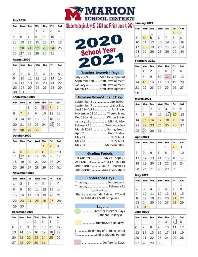 School Calendar 2021 2020 Marion County Fl | Printable Within University Of Phoenix Academic Calendar