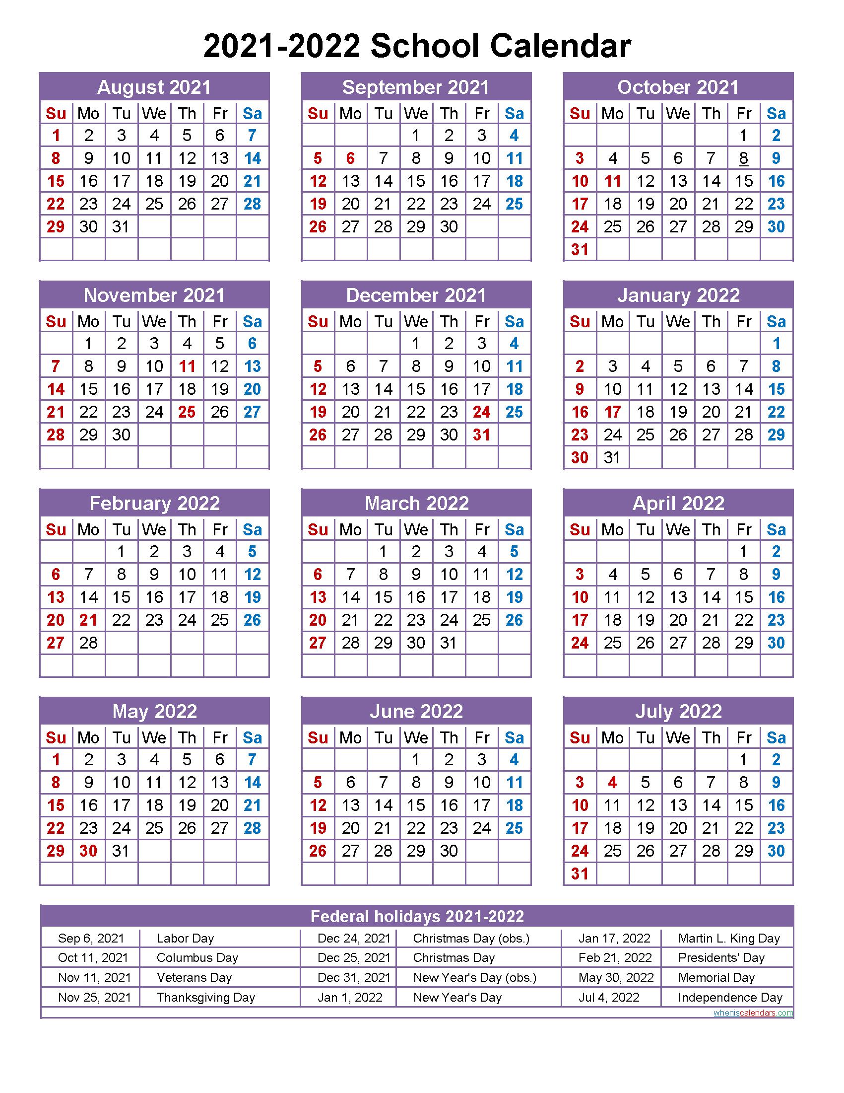 School Calendar 2021 And 2022 Printable (Portrait Within Uri Academic Calendar 2021 2020