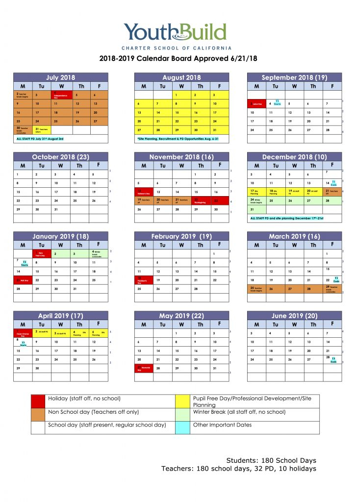 School Calendar & Events - Youthbuild Charteryouthbuild pertaining to Academic Year University Of Rhode Calendar