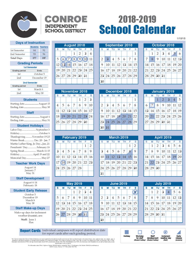 School Calendar Process - Conroe Isd Intended For Spring Break Sam Houston State University