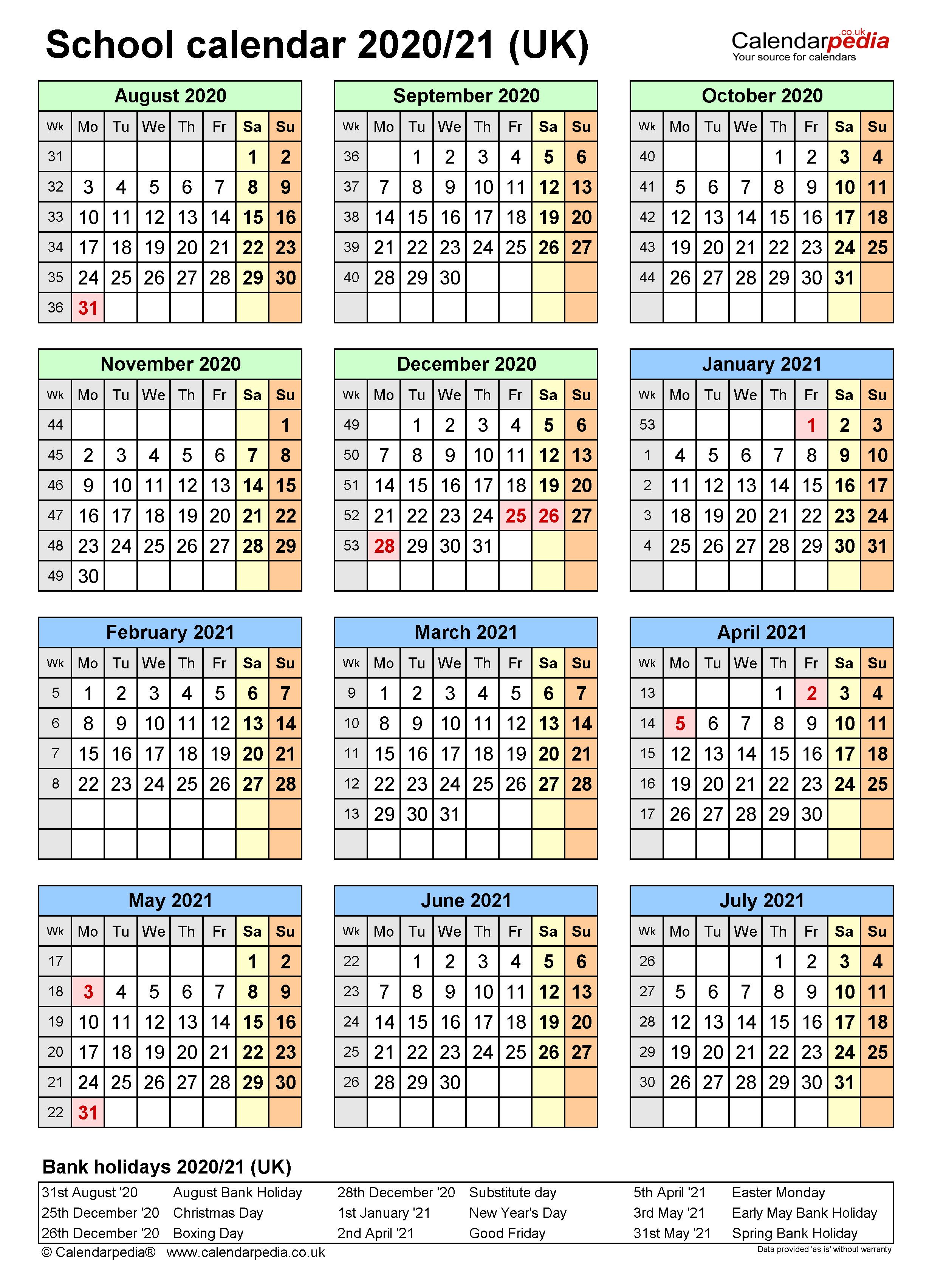 School Calendars 2020/2021 As Free Printable Word Templates With Colorado Springs District 20 2021 20 School Calendar