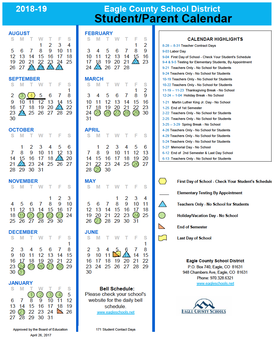 School Calendars   Eagle County Schools Pertaining To College Of The Canyons Holiday Schedule
