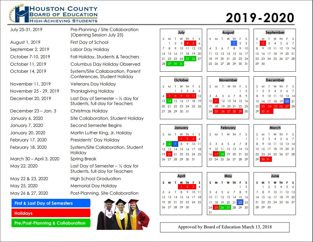 School Calendars   Houston County Schools Inside Woodbridge Township School District Student Calender2021 2020 School Year
