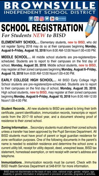 School Registration, Brownsville Independent School In Brownsville Tx School Calendar