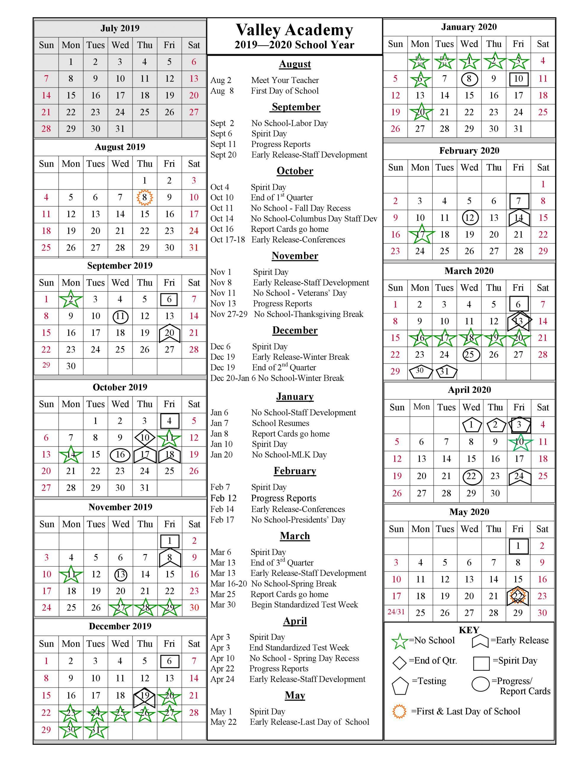 School Year Calendar 2019 2020   Valley Academy With Regard To Academic Year University Of Rhode Calendar