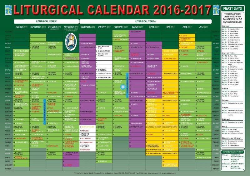 Scottish Catholic Education Service   Sces   Liturgical Intended For Roman Catholic Calendar With Saints Days To Print Out