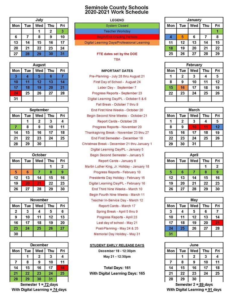 Seminole County School System In Georgia State 2020 School Calendar