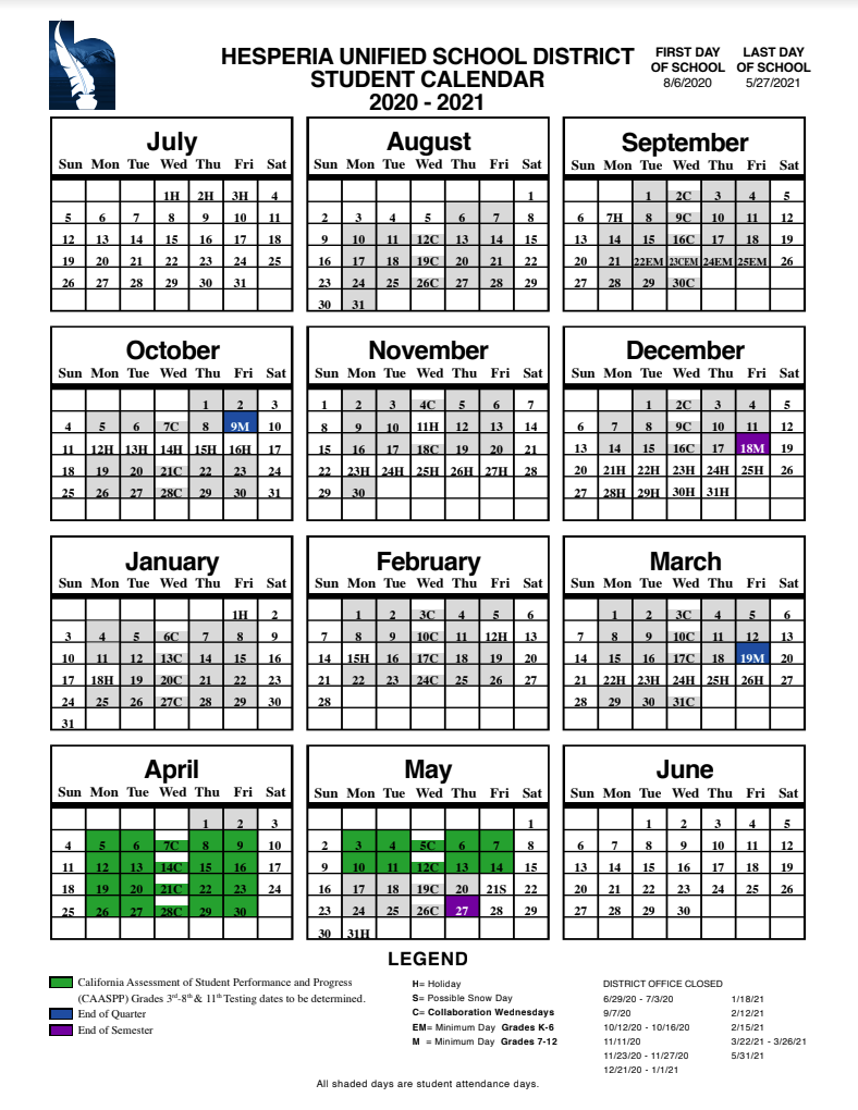 Shadow Ridge School In Hesperia Usd Calendar 2021