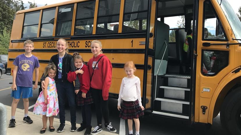 St. Cecilia's New School Bus Brings Off Island Students To For Baibbridge Island School District Calendar